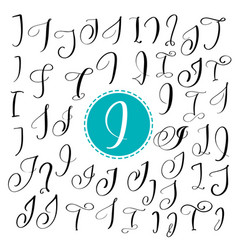 set of hand drawn calligraphy letter i vector image vector image