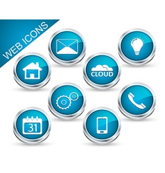 Set of icons or buttons in blue vector image vector image