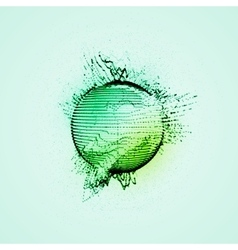 sphere of particles wireframe and splashes vector image vector image