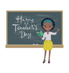 teachers day greeting card afro-american teacher vector image
