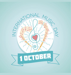 1 october international music day vector image vector image