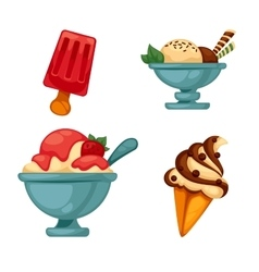 Set of colorful tasty ice cream vector