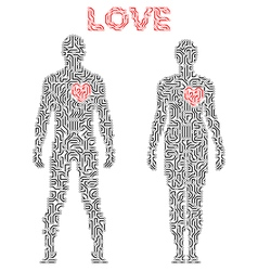 Silhouette of couple in circuit scheme love theme vector
