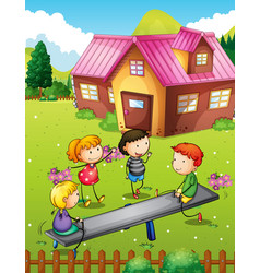 Children playing with seesaw in backyard vector