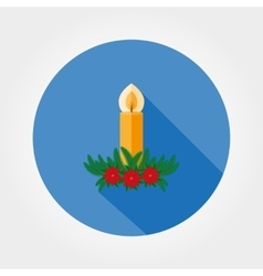 Christmas candle decorated with fir twigs and vector