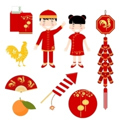 Set of Chinese flat icons vector image