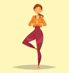 Woman or lady girl or female doing yoga training vector