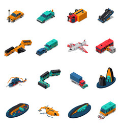 Transport accidents isometric set vector