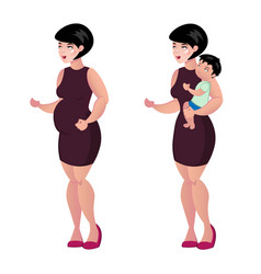 Pregnant woman and baby vector