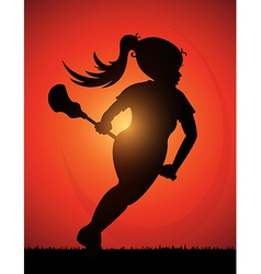 Lacrosse girl vector