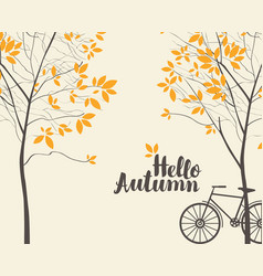 Autumn landscape with trees and bike vector