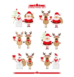 Set of Christmas characters vector image
