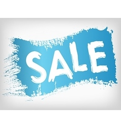 Sale promotion on blue painted grunge brush stain vector