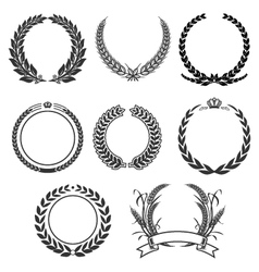 Vintage laurel and wreath set elements vector