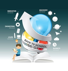 Education infographic innovation idea on light bul vector