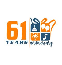 61 year gift box ribbon anniversa vector