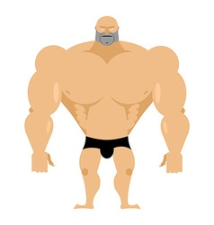 Bodybuilder on a white background strong big man vector