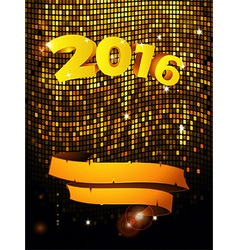 New years golden tiles wall with text and banner vector