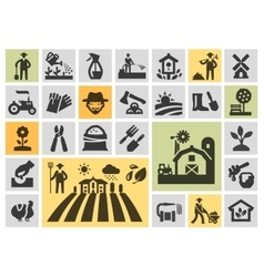 Farm icons set collection elements grower vector