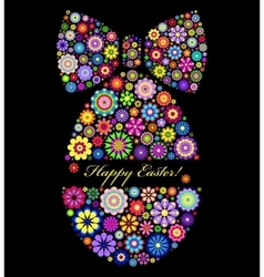 Colorful easter egg on black background vector