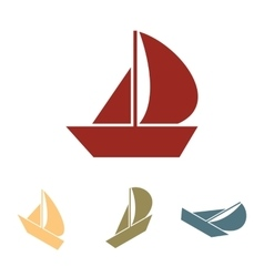 Sail boat icon set isometric effect vector