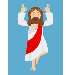 Jesus christ is engaged in yoga jesus in lotus vector