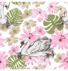 Summer pattern swans and tropical flowers vector image