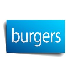 Burgers blue square isolated paper sign on white vector