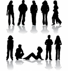 people silhouettes vector image