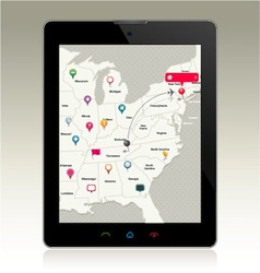 Digital Tablet with Map Pins vector image