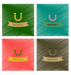 Assembly flat shading style icons physics lesson vector