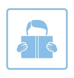 Boy reading book icon vector