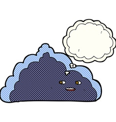 Cartoon cloud with thought bubble vector