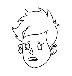 Character face head boy crying outline vector
