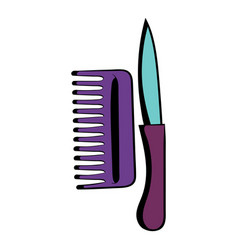 Comb and razor icon cartoon vector