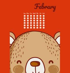 cute bear calendar cartoon vector image