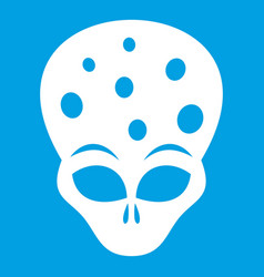 Extraterrestrial alien head icon white vector