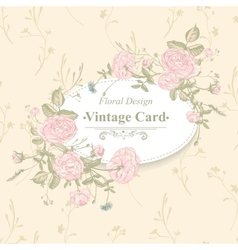 floral greeting card with blossom roses vector image
