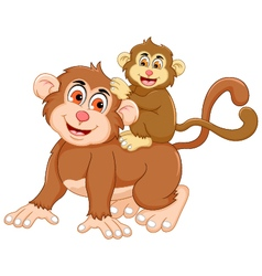 funny monkey cartoon with her baby vector image vector image