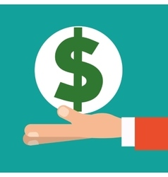 Hand holding money dollar symbol vector