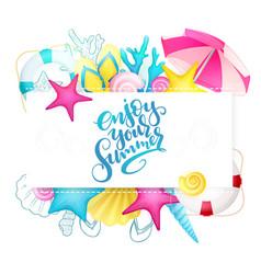 Hand lettering summer phrase - enjoy your vector