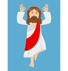 Jesus Christ is engaged in yoga Jesus in lotus vector image vector image