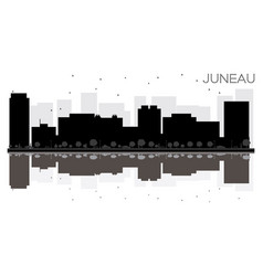 juneau city skyline black and white silhouette vector image vector image