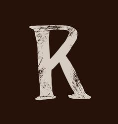 Letter r handwritten by dry brush rough strokes vector