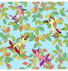 Little birds sing songs Seamless texture vector image vector image