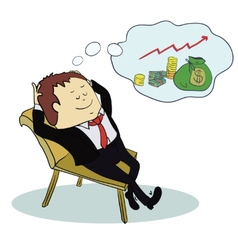Man dream about money Concept cartoon vector image