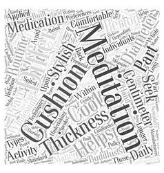 Meditation cushion word cloud concept vector