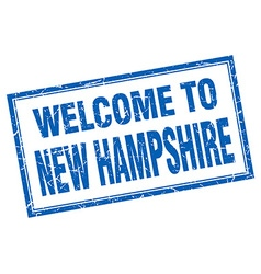 New hampshire blue square grunge welcome isolated vector