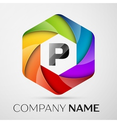 P Letter colorful logo in the hexagonal on grey vector image vector image