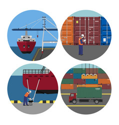 Port services loading containers on ships vector
